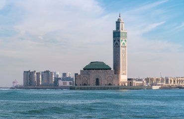 The Hassan II Mosque in Casablanca is the largest mosque in Moro