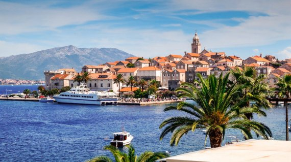 Ferry boat in harbor at Korcula, Croatia