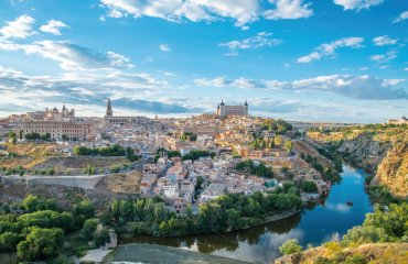Panoramic view of the historic city of Toledo with river Tajo in