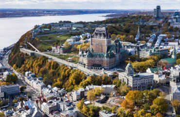 Aerial View of Old Quebec City in the Fall Season, Quebec, Canad