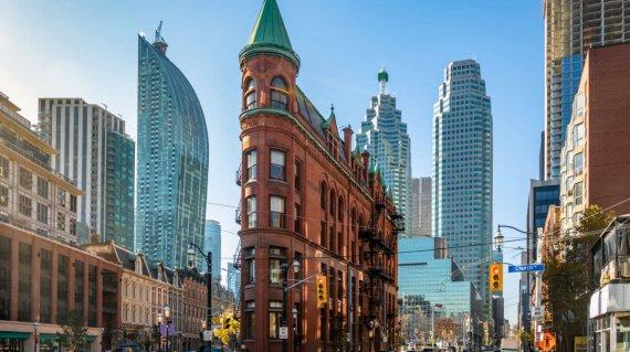 Gooderham or Flatiron Building in downtown Toronto - Toronto, On