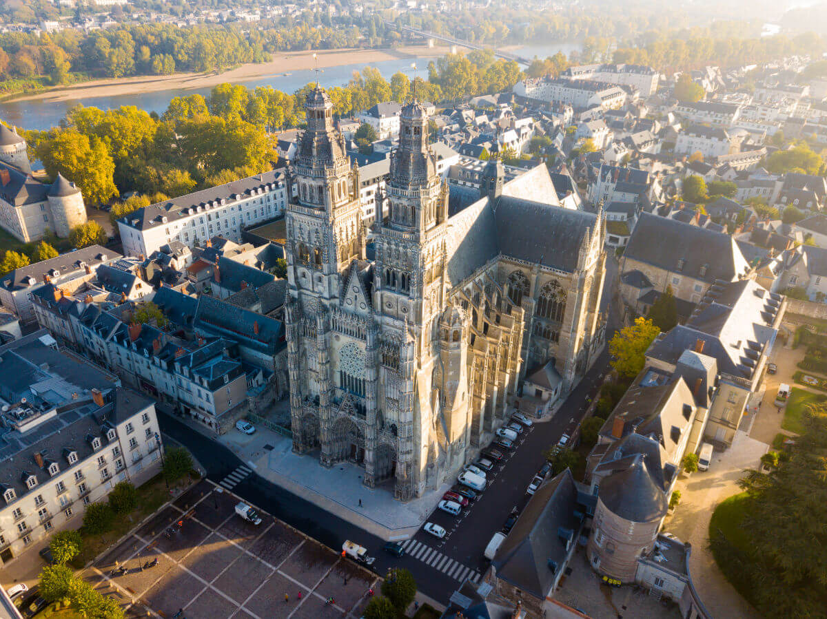 Aerial view on Tours Cathedral
