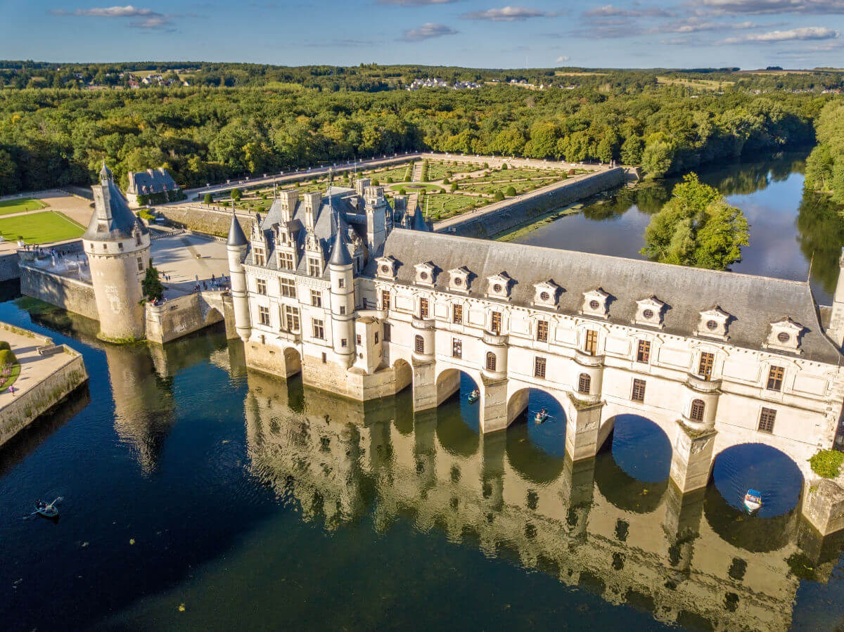 Aerial view on Chenonceaux Castle in Loire Valley, France